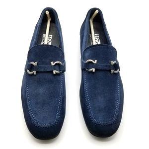 Blue Suede Ferragamo Loafers 10.5-11 US
